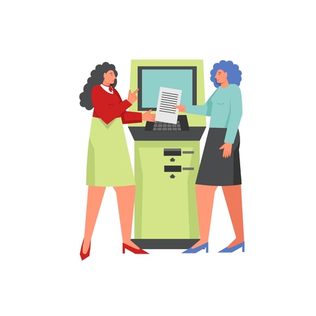 ATM banking concept, vector flat isolated illustration Ilustrace