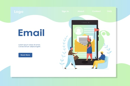 Email vector website landing page design template  イラスト・ベクター素材
