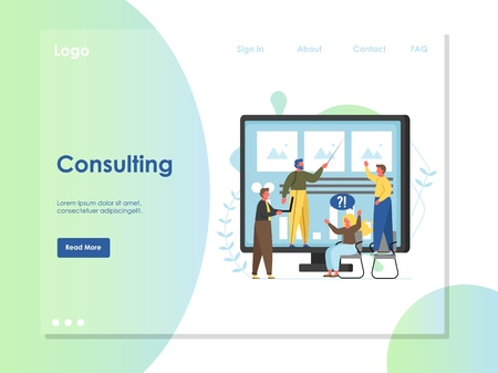 Consulting vector website landing page design template Illustration