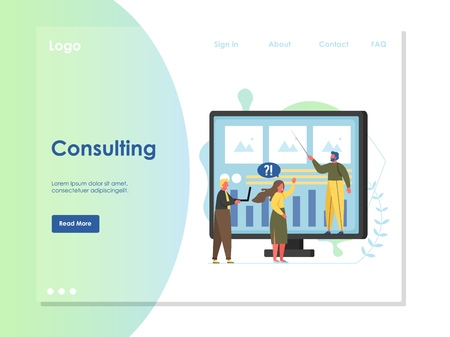 Consulting vector website landing page design template 스톡 콘텐츠 - 124977646