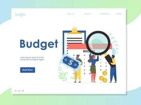 Budget vector website landing page design template Illustration