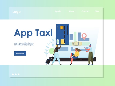 App taxi vector website landing page design template