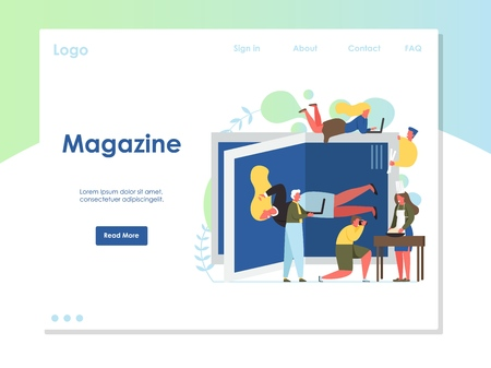 Magazine vector website landing page design template