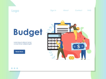 Budget vector website landing page design template Illustration
