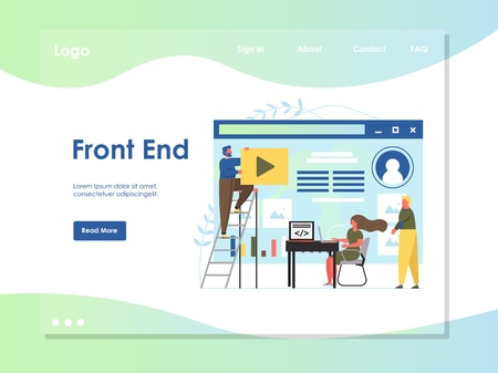 Front end vector website landing page design template