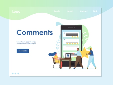 Comments vector website landing page design template