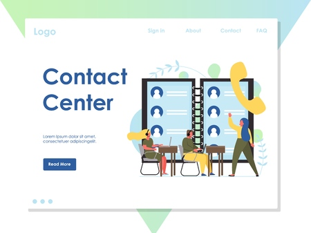 Contact center vector website landing page design template