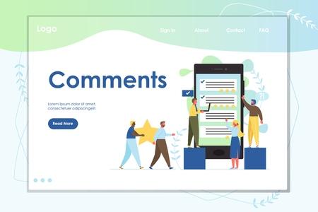 Comments vector website landing page design template