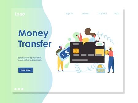 Money transfer vector website landing page design template  イラスト・ベクター素材