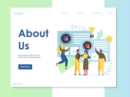 About us vector website landing page design template