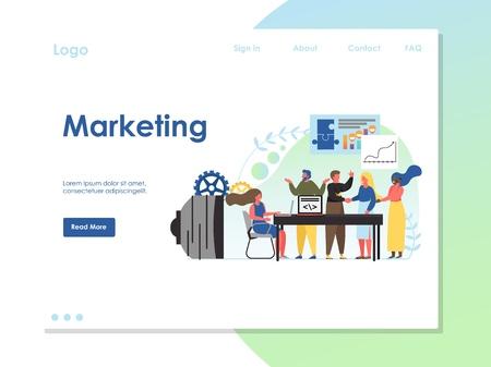 Marketing vector website landing page design template