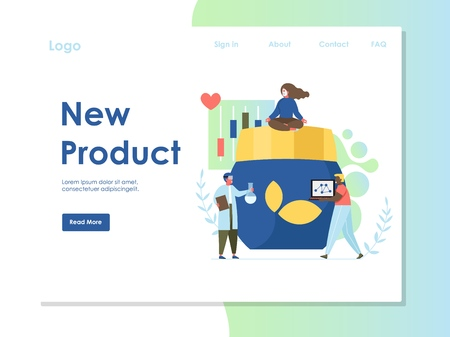 New product vector website landing page design template Ilustrace