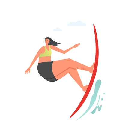 Girl surfing the wave, vector flat style design illustration