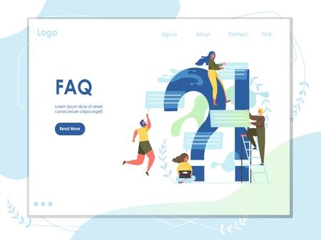 FAQ vector website landing page design template