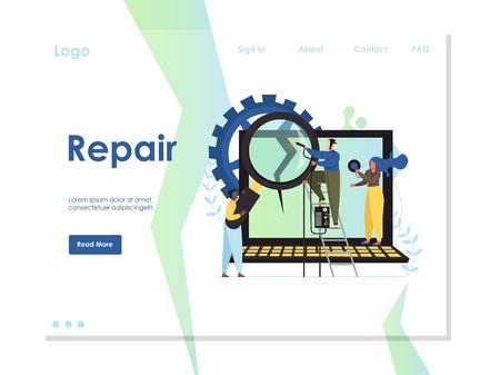 Repair vector website landing page design template