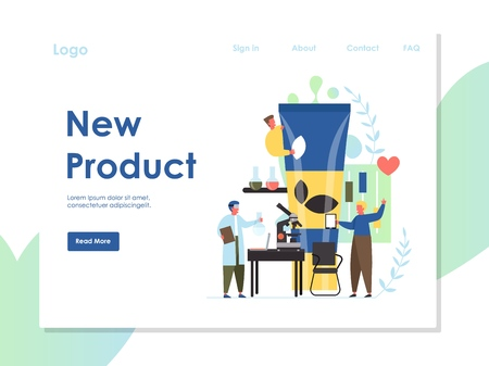 New product vector website landing page design template Stok Fotoğraf - 124977698
