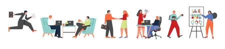 Business people icon set, vector flat style design illustration  イラスト・ベクター素材