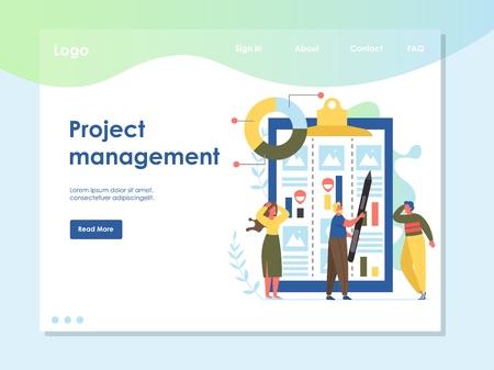Project management vector website landing page design template