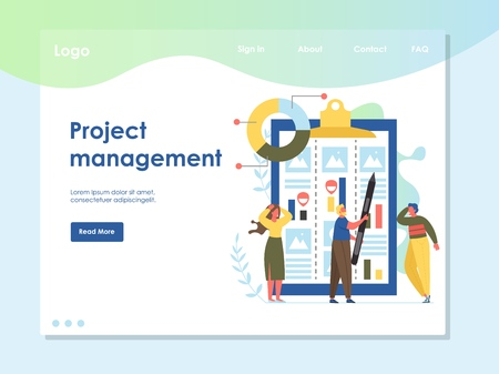 Project management vector website landing page design template