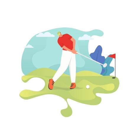 Golf player, vector flat style design illustration Illustration