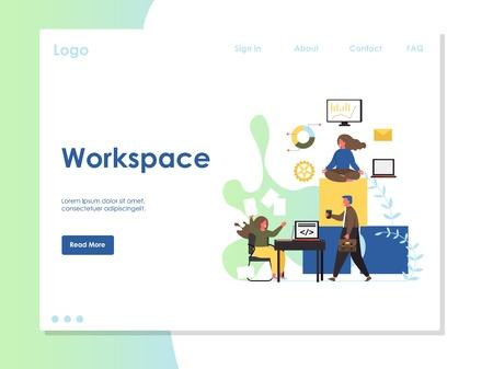 Workspace vector website landing page design template Ilustração