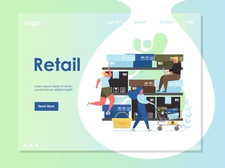 Retail vector website landing page design template Ilustração