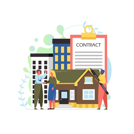 Property concept vector flat style design illustration Standard-Bild - 124977713