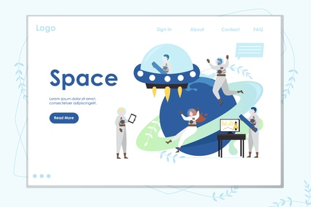 Space vector website landing page design template Stock Illustratie