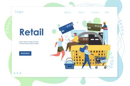 Retail vector website landing page design template Illustration
