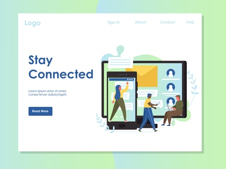 Stay connected vector website landing page design template Banco de Imagens - 124977719