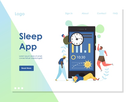 Sleep app vector website landing page design template