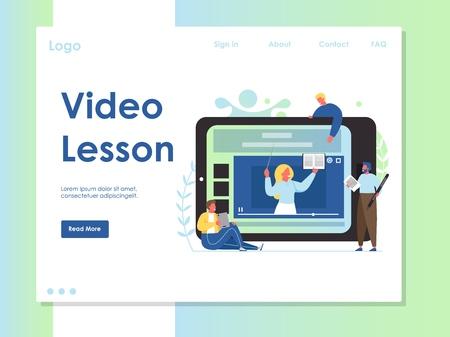 Video lesson vector website landing page design template Illustration