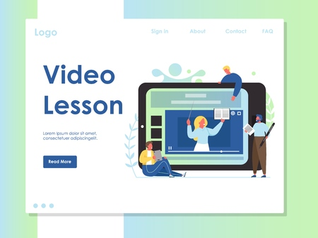 Video lesson vector website landing page design template  イラスト・ベクター素材