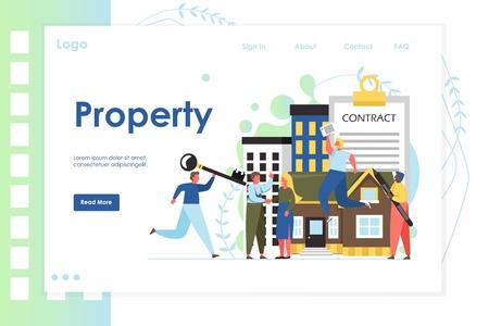 Property vector website landing page design template