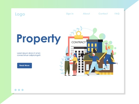 Property vector website landing page design template