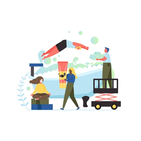 Spa procedures concept, vector flat style design illustration Illustration