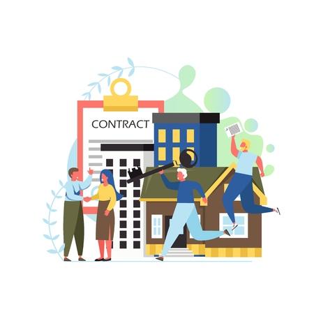 Property concept vector flat style design illustration Illustration