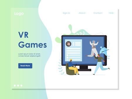 VR games vector website landing page design template