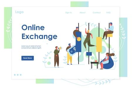 Online exchange vector website landing page design template