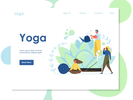Yoga vector website landing page design template Imagens - 124977774