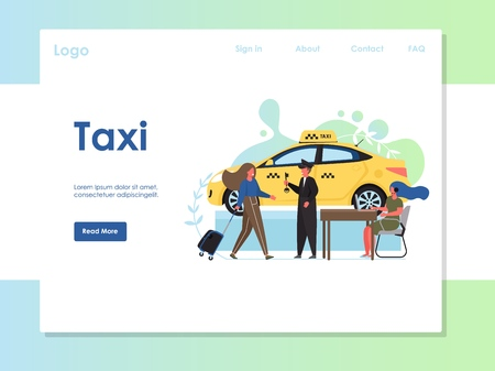 Taxi vector website landing page design template