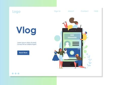Vlog vector website landing page design template  イラスト・ベクター素材