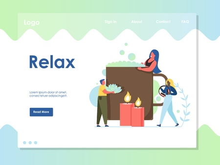 Relax vector website landing page design template