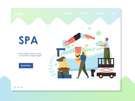 Spa vector website landing page design template