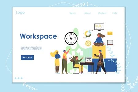 Workspace vector website landing page design template Stock Vector - 124977788