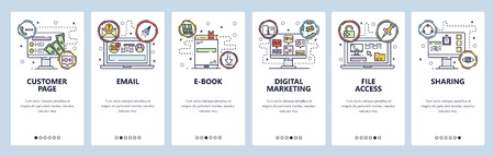 Mobile app onboarding screens. Email, ebook, digital marketing, file access and customer page. Menu vector banner template for website and mobile development. Web site design flat illustration