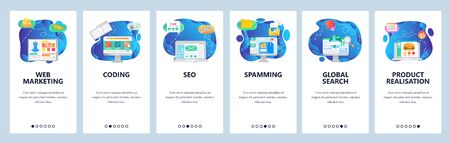 Mobile app onboarding screens. Web amd digital marketing, spamming, SEO and online shopping. Menu vector banner template for website and mobile development. Web site design flat illustration