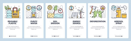 Mobile app onboarding screens. Soil erosion, forest protection, energy sources, plastic recycle. Menu vector banner template for website and mobile development. Web site design flat illustration