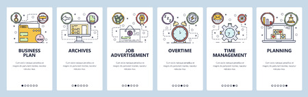 Mobile app onboarding screens. Business plan, job application and offer, time management. Menu vector banner template for website and mobile development. Web site design flat illustration