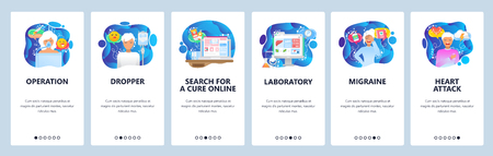 Mobile app onboarding screens. Surgery doctor, patient anesthesia, hospital laboratory, heart attack. Menu vector banner template for website and mobile development. Web site design flat illustration.